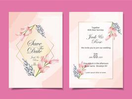 Modello di carte di invito matrimonio di lusso di tulipani e foglie dell'acquerello con cornice dorata e bellissimo sfondo astratto