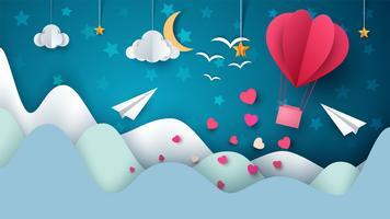 Illustrazione di mongolfiera. Paesaggio di carta dei cartoni animati.