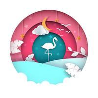 Illustrazione di fenicottero Paesaggio di carta dei cartoni animati. vettore