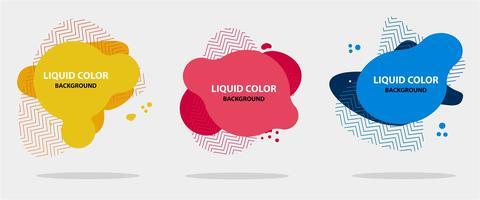 Forma liquida astratta Set di banner astratto moderno. Forma liquida geometrica piana con vari colori. Modello di bandiera moderna. Modello per la progettazione di un logo, volantino di presentazione. Design fluido