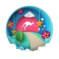 Illustrazione di canguro. Paesaggio di carta dei cartoni animati. vettore