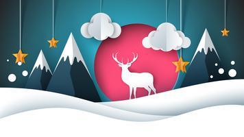 Illustrazione di felice anno nuovo. Buon Natale. Cervi, sole, nuvole, stelle invernali