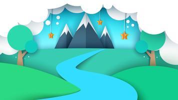Illustrazione di paesaggio di carta dei cartoni animati. Montagna, stella, albero, fiume, campo.