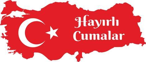 buon venerdì turco Parla: Hayirli Cumalar. Illustrazione di vettore della mappa della Turchia. Vettore di Jumah Mubarakah Venerdì Mubarak in Turchia. Venerdì musulmano.