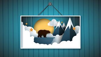 L'immagine è un orso al nord tra le montagne.
