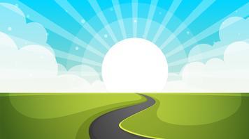 Illustrazione della strada Paesaggio di carta dei cartoni animati.