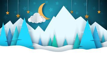 Paesaggio di carta del fumetto di inverno. Buon Natale Felice Anno Nuovo. Abete, luna, nuvole, stelle, montagne, neve.