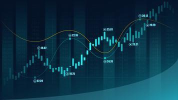 Mercato azionario o forex trading grafico in concetto grafico vettore