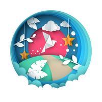 Illustrazione di colomba Paesaggio di carta dei cartoni animati. vettore