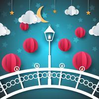 Paesaggio di carta dei cartoni animati. Ponte, lampada, lampadina, illustrazione di strada.