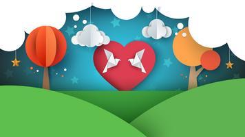 Colomba, illustrazione di amore. Paesaggio di carta dei cartoni animati. vettore