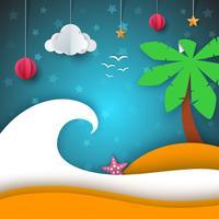Illustrazione dell'isola Paesaggio di carta dei cartoni animati. vettore