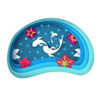 Illustrazione di pesce Cartone animato di carta mare. vettore