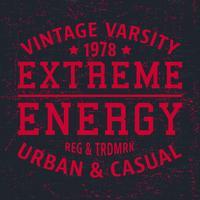 Timbro vintage di energia estrema vettore