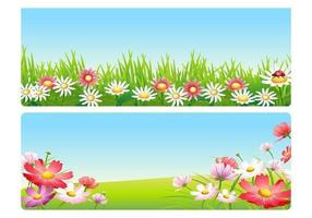 Pacchetto di fiori rosa primavera paesaggio vettoriale