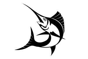 Vettore della siluetta del pesce vela isolato su backgroud bianco.