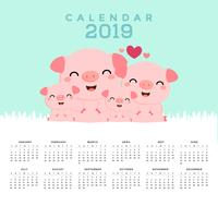 Calendario 2019 con maiali carini. vettore