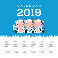 Calendario 2019 con mucche carine. vettore