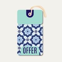 Tag con azulejos blu ornamento portoghese.