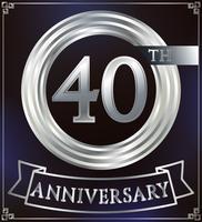 Anello anniversario d'argento vettore