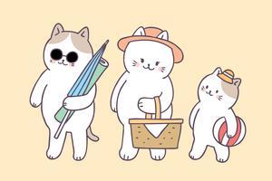 Vettore sveglio di picnic dei gatti di famiglia di estate del fumetto.