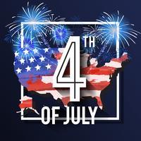 Celebrazione del 4 luglio Design di sfondo con mappa USA e fuochi d'artificio vettore