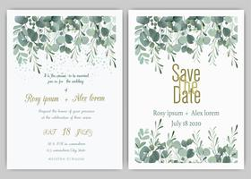 Invito a nozze di vegetazione, invito di nozze di eucalipto modello. vettore