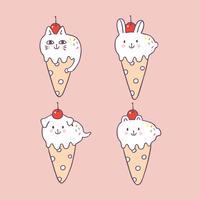 Vettore di gelato simpatici animali estivi del fumetto.