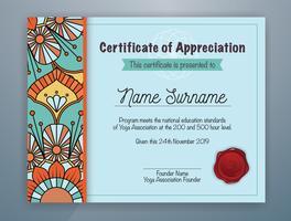 Ciano Mandala con bordi Certificato di design modello di apprezzamento