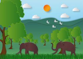 Stile di arte di carta del paesaggio con la montagna e l'albero dell'elefante nell'estratto dell'idea di ecologia della natura fondo, illustrazione di vettore