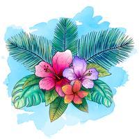 Disegno vettoriale tropicale per banner o volantino con foglie di palma esotiche, fiori di ibisco con sfondo blu stile acquerello.