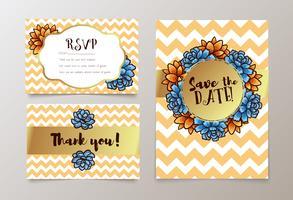 Carta alla moda con succulento per i matrimoni, salva l'invito per la data, RSVP e biglietti di ringraziamento.