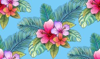 illustrazione di vettore del reticolo senza giunte tropicale floreale e foglia.