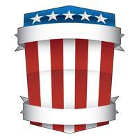 Rosso patriottico, bianco e blu, stelle e strisce, scudo americano di orgoglio con le insegne ha isolato l'illustrazione di vettore