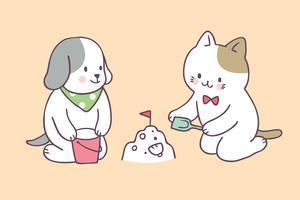 Cartone animato carino estate cane e gatto che giocano vettore. vettore