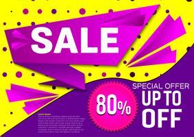 Offerta speciale di vendita banner vettoriale. Astratto sfondo di colore viola e giallo. Idea di design vettore