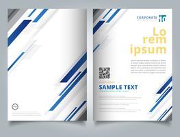 Brochure modello tecnologia geometrica blu brillante colore movimento in diagonale sfondo. vettore