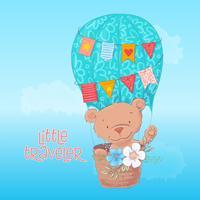 Manifesto di cartolina di un simpatico orso in un palloncino con fiori in stile cartone animato. Disegno a mano vettore