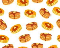 Modello senza cuciture dei pancake con burro e sciroppo d'acero dolci su fondo bianco
