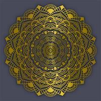 Illustrazione d'annata di vettore di colore dell'oro degli elementi delle decorazioni della mandala