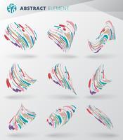 Set di astratto stile moderno con composizione fatta di varie linee di avvolgimento cerchio forme arrotondate 3d in colorato contorto.