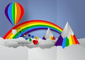 Carta a forma di cuore con arcobaleno e palloncini colori arcobaleno per orgoglio LGBT o GLBT, o lesbiche, gay, bisessuali, transgender, su sfondo blu vettore