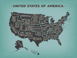 Poster vintage mappa americana con nomi degli Stati