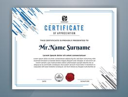 Modello di certificato professionale multiuso. Illustrazione astratta di vettore blu