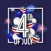 Celebrazione di sfondo del 4 luglio con palloncini e fuochi d'artificio. vettore