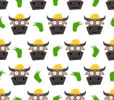 Modello senza cuciture del cartone animato carino buffalo con erba isolato su sfondo bianco - illustrazione vettoriale