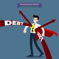 Eroe da uomo d'affari che indossa un mantello rosso in piedi e si tiene duro dal debito della freccia che lo attacca.