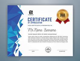 Modello di certificato professionale multiuso. Illustrazione astratta di vettore del poligono