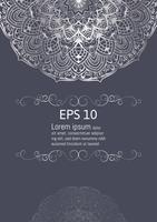 Elementi decorativi d'annata della mandala d'argento, illustrazione di vettore con lo spazio della copia