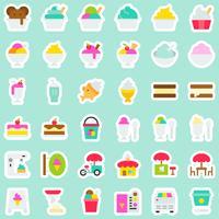Insieme dell'icona di vettore del gelato, stile dell'autoadesivo